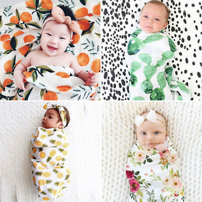Muslin Cotton Blend Newborn Swaddle Baby Flower Soft Blanket Floral Wrap Towel