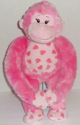 "Build A Bear Pink Hearts Hugs Fur You Monkey 18"" Valentine's Day Plush Doll Toy"