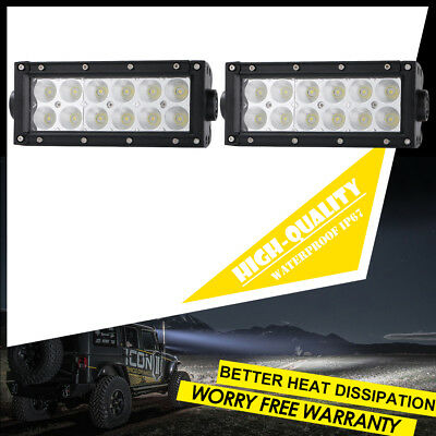 Pair 7INCH Led Work Light Bar Flood Driving Fog Offroad Truck Polaris SUV Lights
