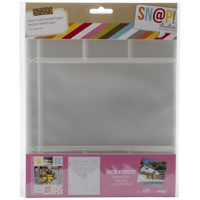 """Sn@p! Insta Pocket Pages For 6""""x8"""" Binders 10/pkg-(6) 2""""x2"""" & (1) 4""""x6"""" Pockets"""