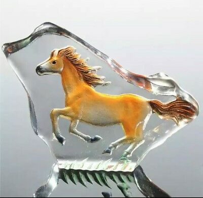 Clear Crystal Glass Horse Standing Figure Decoration Birthday Gift Boxed