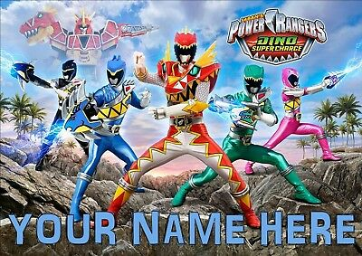 Dino Power Rangers Poster A4 Print, Add Any Name