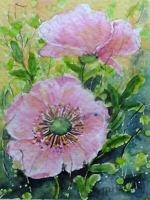 ACEO pink flower original watercolor painting miniature picture by Europe artist
