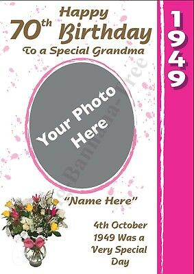 PERSONALISED 1949 70th PHOTO BIRTHDAY CARD