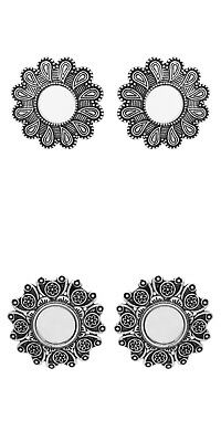 Jwellmart Indian Bollywood Oxidized Afghani Stud Mirror Earrings Free Shipping