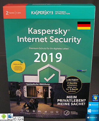 Kaspersky Internet Security 2019 Vollversion 2 Geräte PC/Mac/Android + Anleitung