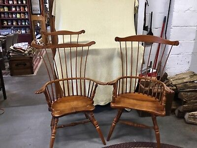 Frederick Duckloe & Bros Fan Back Windsor Arm Chairs King/QueenColonial Set Of2