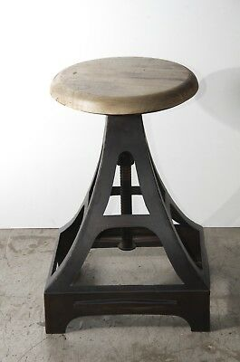 Vintage Stool Metal Wooden Industrial Retro Seat Kitchen Pub Counter UK