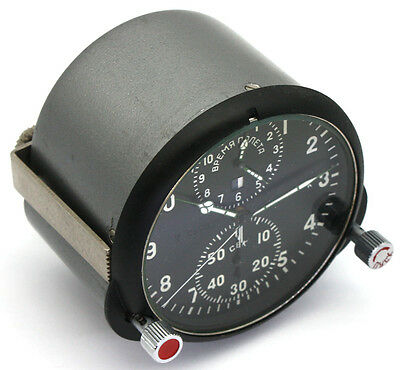 "Soviet 70's-made AirForce Cockpit Clock ACS-1 ""К"" / AChS-1 ""К"" for Su/MiG jets"