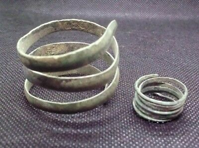 Superb Bronze Age Twisted Bracelet And Ring - 2000 Bc - Found Together