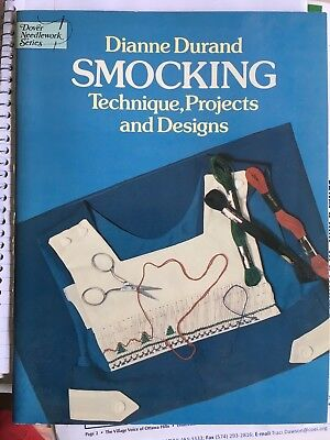 Diane Durand Smocking Technique, Projects and Designs booklet 1979 paperback