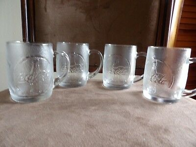 "Coca Cola 4 glass mugs cups frosted embossed coke bottles handle new unused 4"" t"