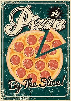 Pizza By The Slice Vintage Art Print Mural Poster 36x54 inch