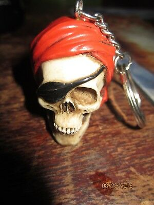 PIRATE Skull Head Keychain Ring 3D & OLD CARNIVAL SKULLPICTURE IN GLASS