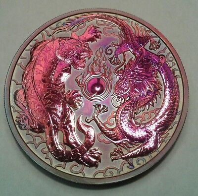 2018 - Australia  Dragon & Tiger 1oz Silver Coin with Beautiful toning.TONED  👈