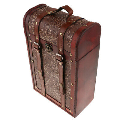 Wooden Antique Wine Box Wine Storage Carrier for Double Bottle