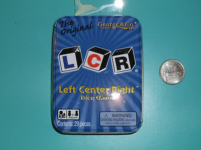 LCR Left Center Right Dice Game in Blue storage Tin Original Family Fun