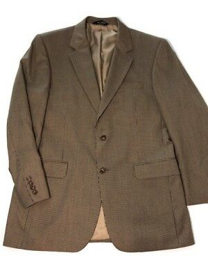 Jos A Bank Mens Signature Collection Coat 40R 100% Wool Houndstooth Brown Gordon