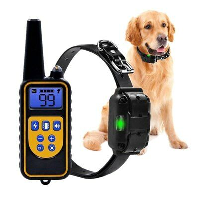 Waterproof  Pet Dog Training Collar Rechargeable Electric Shock LCD Display 800m