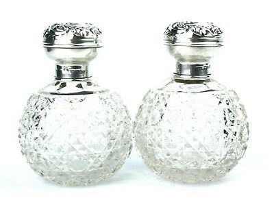 Antique Sterling Silver Perfume Scent Bottles Hobnail Cut Pair Chester 1905