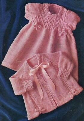 Vintage BABY Knitting Pattern copy in 4 Ply Dress and Coat