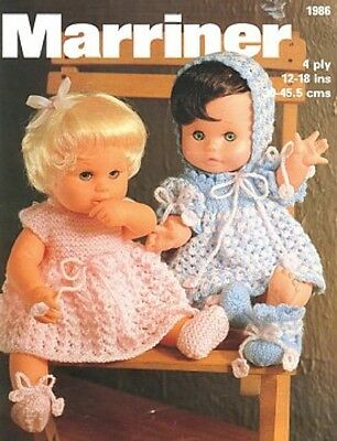 Baby Dolls Clothes Knitting Pattern Copy 30 - 45 cms Dress Bonnet Bootees