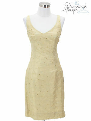 5719cd519d55 A20 NANETTE LEPORE Vintage Dress Size Small 6 Gold Floral Bodycon Sleeveless