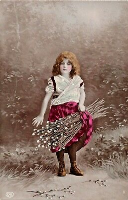 Pretty Young Girl-White/Red Dress-Holds Pussy Willow-German Real Photo Postcard
