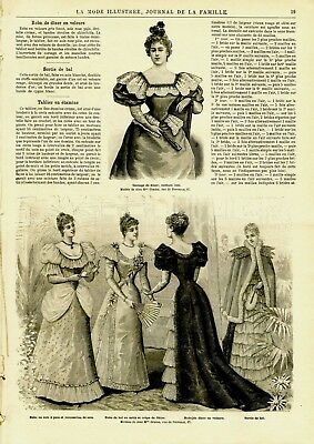 French MODE ILLUSTREE SEWING PATTERN January 21,1894 BALL GOWNS
