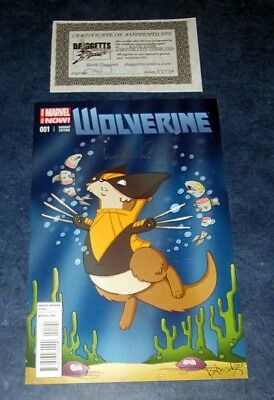 WOLVERINE #1 signed KATIE COOK cute animal variant MARVEL NOW 2014 COA LOGAN NM