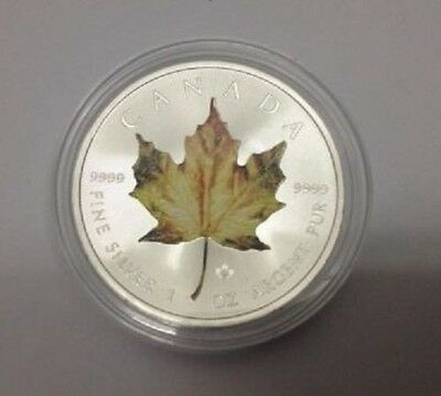 2014 Canadian Maple Leaf Yellow Colored 1 oz .9999 Silver Coin