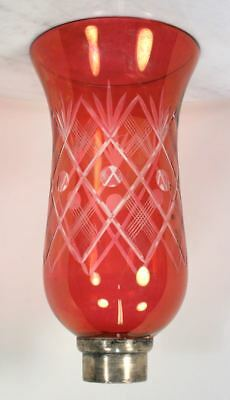 Antique Victorian Cranberry Red Crystal Lampshade. Sterling Silver Sleeve RARE