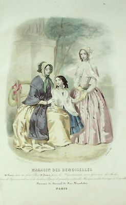 French Magasin Demoiselles SEWING PATTERN April 1847 Corsage fronce, chapeau