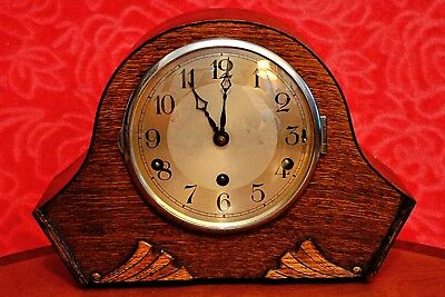 Vintage Art Deco German 'FHS' 8-Day Mantel Clock with Westminster Chimes