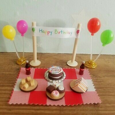 happy Birthday Set,mini balloons, food, cake, great sylvanian family accessories