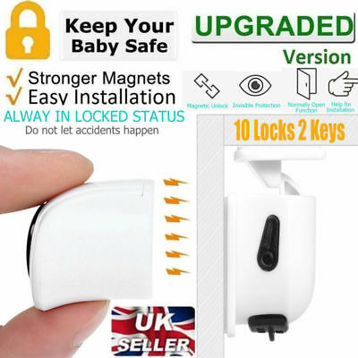 10 X Baby Safety Magnetic Cabinet Locks Invisible Child Proof Cupboard Drawer UK