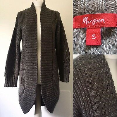 9e05ee87bf Ladies Monsoon Cardigan thick knit grey silver long winter 27% Mohair S 8 10