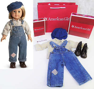 NEW American Girl Doll Clothes KIT HOBO OVERALLS OUTFIT +BOOTS Shirt Cap Hat BOX