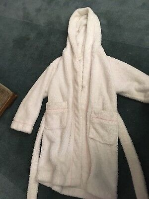 Girls Fluffy Dressing Gown George Age 5-6 White