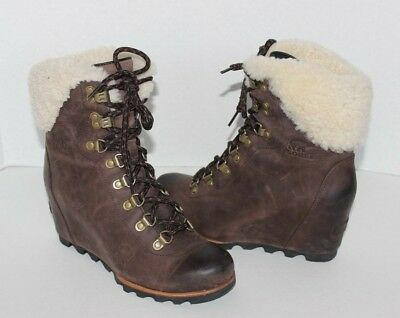 4e142e5e3fb SOREL WOMEN S CONQUEST Wedge Shearling Boots US 8 Tobacco Black ...