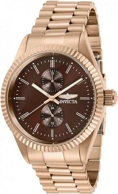 Invicta Men's Specialty Brown Dial Rose Gold Tone Stainless Steel Watch 29435