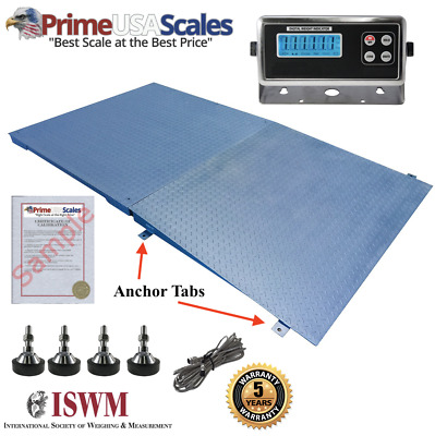 """New 2,500 lb x .5 lb 5'x5' (60"""" x 60"""") Floor Scale / Pallet Scale with Ramp"""