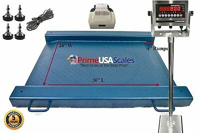"24"" x 30"" Floor Scale Drum Scale Indicator 500 lb Legal for Trade Printer"