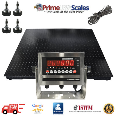 5 ft x 7 ft Floor Scale 5 Year Warranty Stainless Steel Indicator 5,000 lb