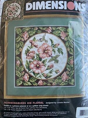 Hummingbirds on Floral Needlepoint Kit Dimensions 2448 Pillow or Picture Moskal