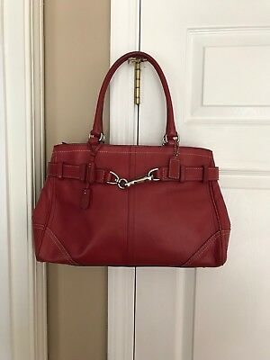 COACH woman s RED LEATHER TOGGLE HOBO SHOULDER TOTE BAG 4bfd541bb5608