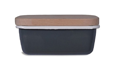 Enamal Butter Dish with Wooden Lid - Charcoal