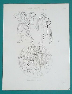 ANCIENT BAS RELIEFS Hercules Apollo Minerva - 1820s Antique Print by A. REES