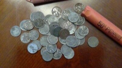 50 - 1943 - Lincoln Wheat Cent - Steel Cents - 1 Roll - 50 Coins