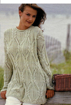 Ladies Knitting Pattern Copy LACY long line Sweater